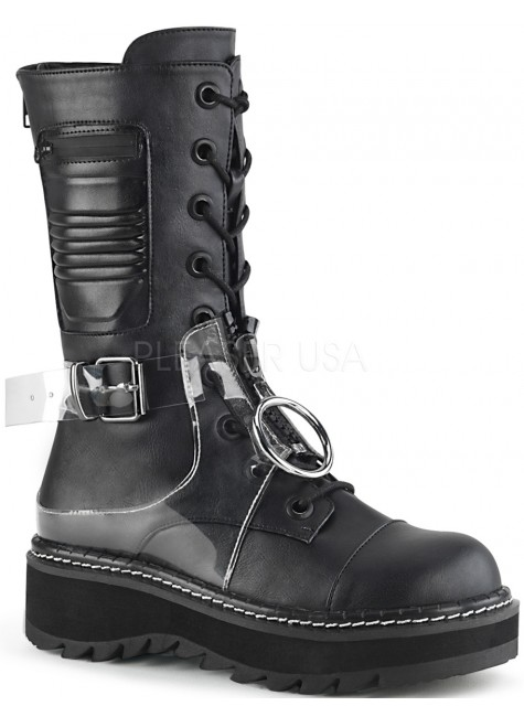 Lilith Mid-Calf Womens Black Harness Boot at Gothic Plus, Gothic Clothing, Jewelry, Goth Shoes & Boots & Home Decor