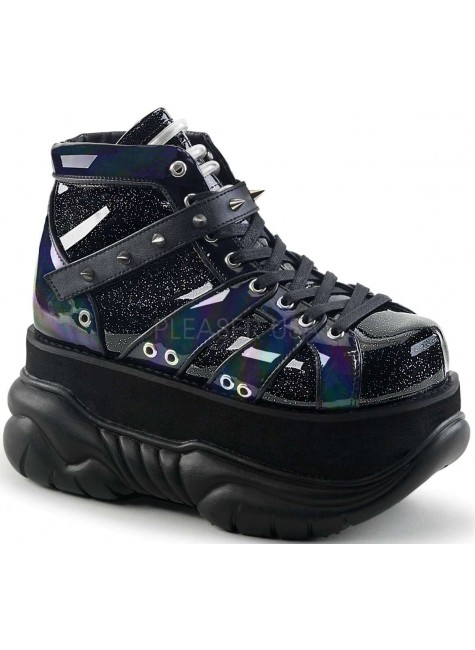 Neptune Black Holographic Mens Shoes at Gothic Plus, Gothic Clothing, Jewelry, Goth Shoes & Boots & Home Decor