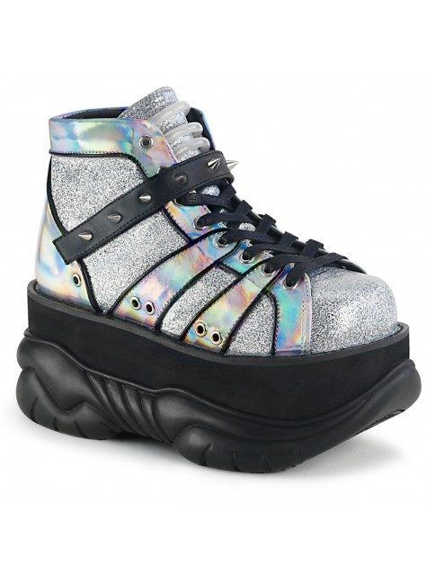Neptune Silver Holographic Mens Platform Shoes at Gothic Plus, Gothic Clothing, Jewelry, Goth Shoes & Boots & Home Decor