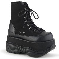 Neptune Black Canvas and Faux Leather Mens Ankle Boot