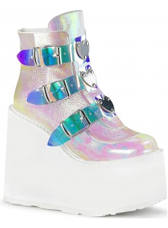 Pearl White Iridescent Platform Wedge Ankle Boots Gothic Plus Gothic Clothing, Jewelry, Goth Shoes & Boots & Home Decor