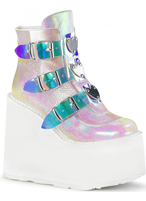Pearl White Iridescent Platform Wedge Ankle Boots at Gothic Plus, Gothic Clothing, Jewelry, Goth Shoes & Boots & Home Decor