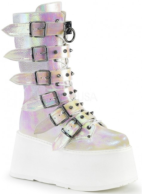 Damned Pearl Shimmer Buckled Boots for Women at Gothic Plus, Gothic Clothing, Jewelry, Goth Shoes & Boots & Home Decor