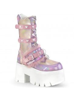 Ashes Heart Pink Mid-Calf Platform Boot