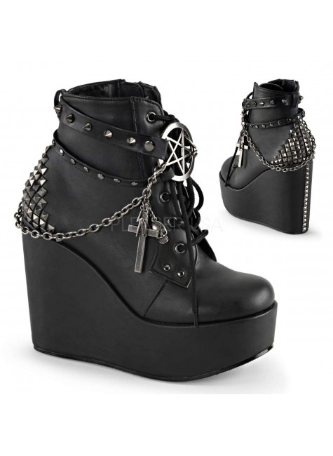 Pentagram Charm The Craft Gothic Ankle Boot at Gothic Plus, Gothic Clothing, Jewelry, Goth Shoes & Boots & Home Decor