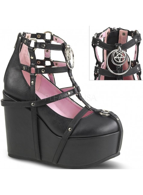 Pentagram Charm Poison Black Cage Wedge Gothic Shoe at Gothic Plus, Gothic Clothing, Jewelry, Goth Shoes & Boots & Home Decor