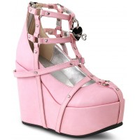Heart Charm Poison Pink Cage Wedge Gothic Shoe