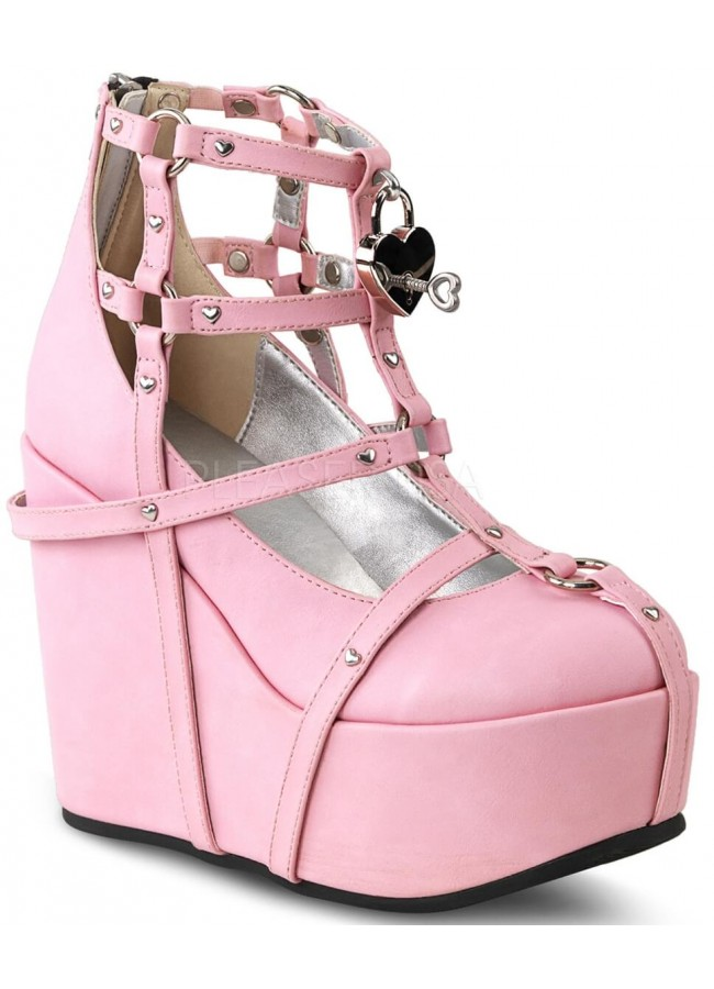 12d584bab79 Heart Charm Poison Pink Cage Wedge Gothic Shoe at Gothic Plus