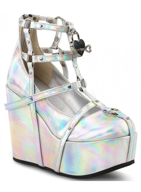 Heart Charm Poison Hologram Cage Wedge Gothic Shoe at Gothic Plus, Gothic Clothing, Jewelry, Goth Shoes & Boots & Home Decor