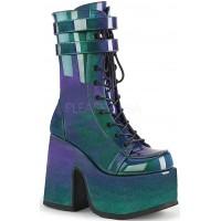 Purple-Green Patent Platform Chunky Heel Boots