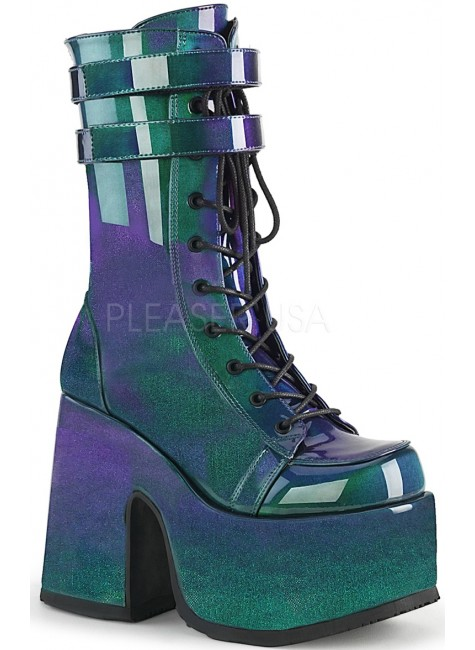 Purple-Green Patent Platform Chunky Heel Boots at Gothic Plus, Gothic Clothing, Jewelry, Goth Shoes & Boots & Home Decor