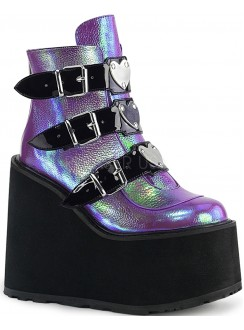 Purple Iridescent Platform Wedge Ankle Boots Gothic Plus Gothic Clothing, Jewelry, Goth Shoes & Boots & Home Decor