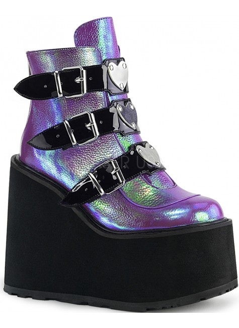 Purple Iridescent Platform Wedge Ankle Boots at Gothic Plus, Gothic Clothing, Jewelry, Goth Shoes & Boots & Home Decor