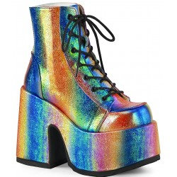 Rainbow Iridescent Chunky Platform Boots Gothic Plus Gothic Clothing, Jewelry, Goth Shoes & Boots & Home Decor