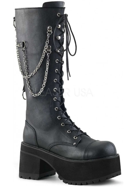 Ranger Mens Knee High Combat Boot with Chains at Gothic Plus, Gothic Clothing, Jewelry, Goth Shoes & Boots & Home Decor