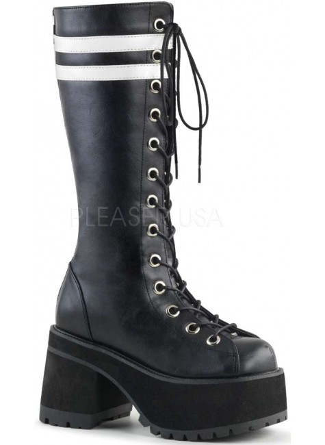 Ranger Mens Combat Boot with White Stripes at Gothic Plus, Gothic Clothing, Jewelry, Goth Shoes & Boots & Home Decor