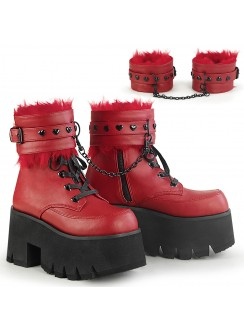 Ashes Red Hobble Boots with Removable Ankle Cuffs