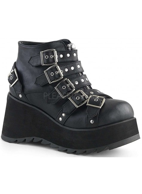 Scene Buckled Black Ankle Boots at Gothic Plus, Gothic Clothing, Jewelry, Goth Shoes & Boots & Home Decor