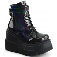 Shaker 52 Lace Up Black Hologram Wedge Ankle Boot