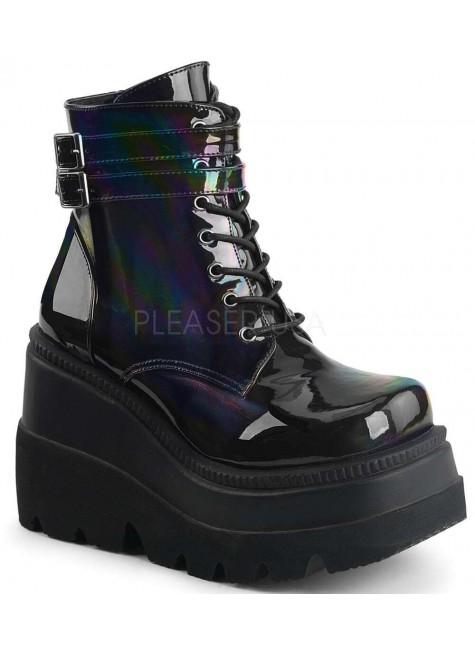 Shaker 52 Lace Up Front Stacked Wedge Ankle Boot at Gothic Plus, Gothic Clothing, Jewelry, Goth Shoes & Boots & Home Decor