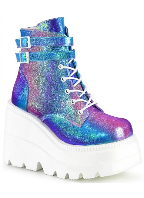 Purple Iridescent Wedge Heel Womens Ankle Boot at Gothic Plus, Gothic Clothing, Jewelry, Goth Shoes & Boots & Home Decor