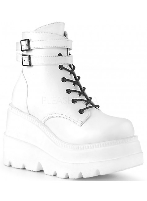 Shaker 52 White Stacked Wedge Ankle Boot at Gothic Plus, Gothic Clothing, Jewelry, Goth Shoes & Boots & Home Decor