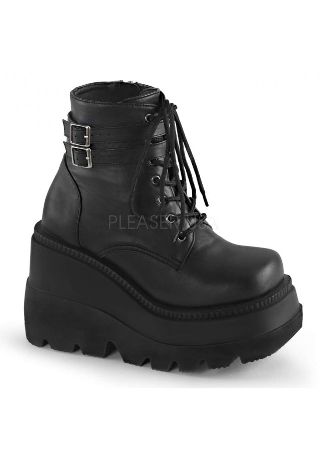 9acb3dafea Shaker 52 Lace Up Front Stacked Wedge Ankle Boot at Gothic Plus, Gothic  Clothing,