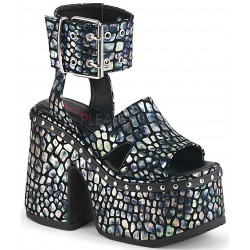Camel Silver Hologram Platform Sandals Gothic Plus Gothic Clothing, Jewelry, Goth Shoes & Boots & Home Decor