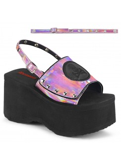 Skull and Crossbone Pink Hologram Platform Convertible Mule Gothic Plus Gothic Clothing, Jewelry, Goth Shoes & Boots & Home Decor