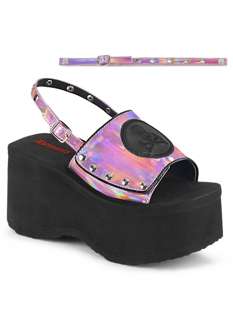 Skull and Crossbone Pink Hologram Platform Convertible Mule at Gothic Plus, Gothic Clothing, Jewelry, Goth Shoes & Boots & Home Decor