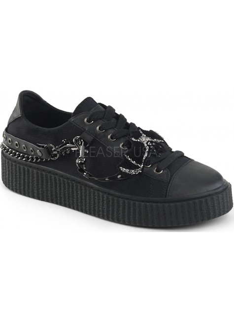 Black Bat Gothic Low Top Bondage Strap Sneaker