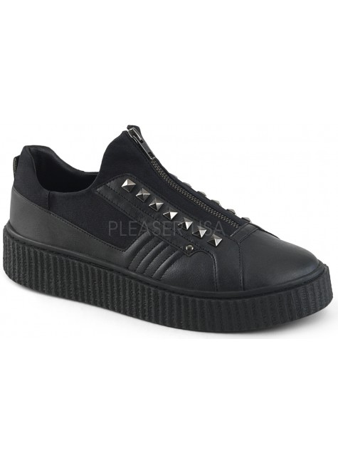 Zipped Black Studded Gothic Low Top Sneaker at Gothic Plus, Gothic Clothing, Jewelry, Goth Shoes & Boots & Home Decor