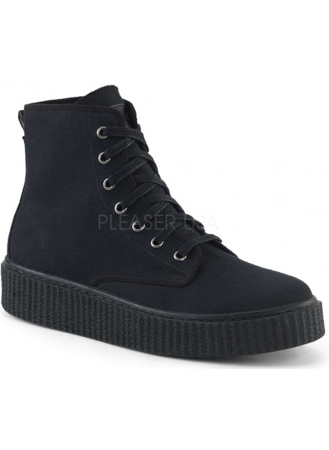Demonia Black Canvas High Top Sneaker at Gothic Plus, Gothic Clothing, Jewelry, Goth Shoes & Boots & Home Decor