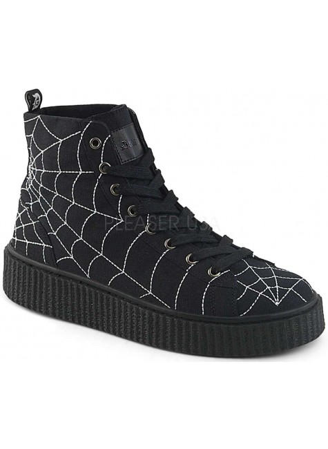 Spiderweb Black Canvas High Top Sneaker at Gothic Plus, Gothic Clothing, Jewelry, Goth Shoes & Boots & Home Decor