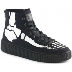 XRay Bone Print Black Canvas High Top Sneaker Gothic Plus Gothic Clothing, Jewelry, Goth Shoes & Boots & Home Decor