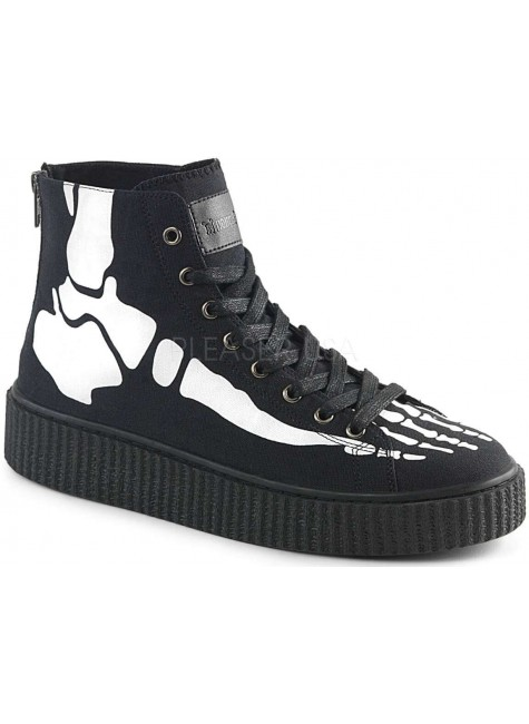 XRay Bone Print Black Canvas High Top Sneaker at Gothic Plus, Gothic Clothing, Jewelry, Goth Shoes & Boots & Home Decor