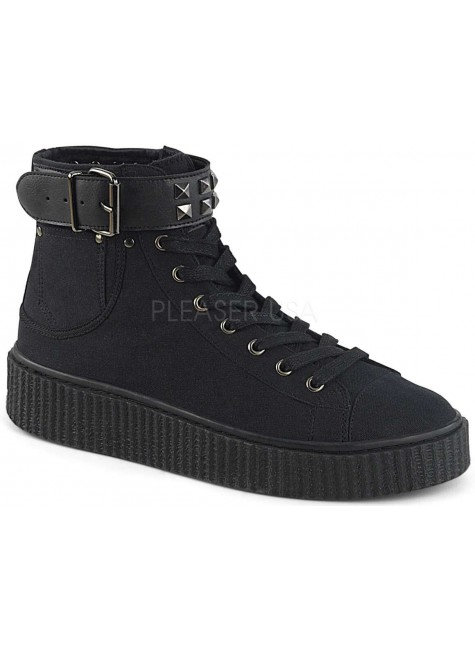 Belt Strapped Black Canvas High Top Sneaker at Gothic Plus, Gothic Clothing, Jewelry, Goth Shoes & Boots & Home Decor