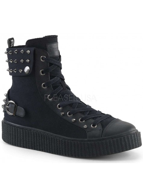 Studded Black Canvas High Top Sneaker at Gothic Plus, Gothic Clothing, Jewelry, Goth Shoes & Boots & Home Decor