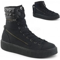 Removable Cuff Black Canvas High Top Sneaker