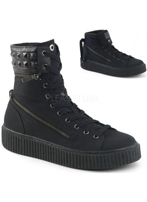 Removable Cuff Black Canvas High Top Sneaker at Gothic Plus, Gothic Clothing, Jewelry, Goth Shoes & Boots & Home Decor