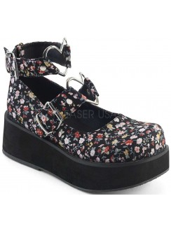 Sprite Floral Print Heart Ring Platform Mary Jane Gothic Plus Gothic Clothing, Jewelry, Goth Shoes & Boots & Home Decor