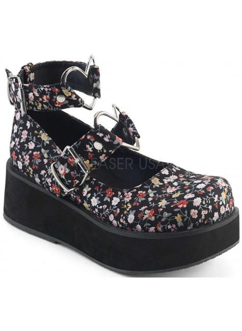 Sprite Floral Print Heart Ring Platform Mary Jane at Gothic Plus, Gothic Clothing, Jewelry, Goth Shoes & Boots & Home Decor