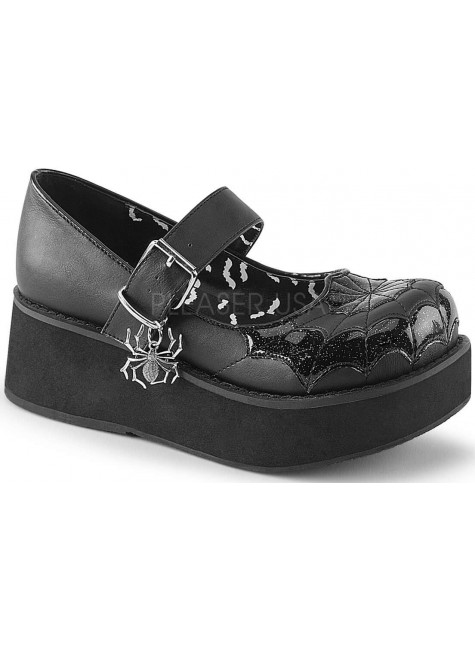 Spiderweb Sprite Black Platform Mary Jane at Gothic Plus, Gothic Clothing, Jewelry, Goth Shoes & Boots & Home Decor