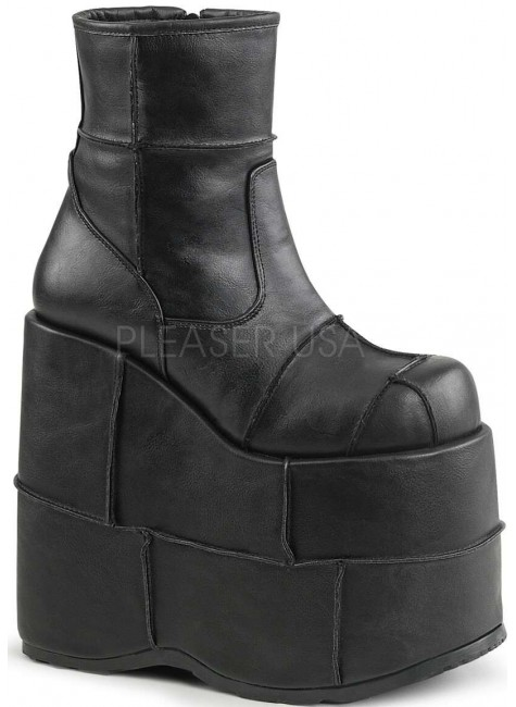 Stack Mens Platform Patched Ankle Boot at Gothic Plus, Gothic Clothing, Jewelry, Goth Shoes & Boots & Home Decor