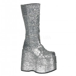 Sllver Glittered Mens Platform Patched Knee Boot Gothic Plus  Gothic Clothing, Jewelry, Goth Shoes, Boots & Home Decor
