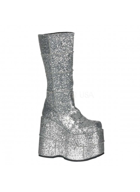 Sllver Glittered Mens Platform Patched Knee Boot at Gothic Plus, Gothic Clothing, Jewelry, Goth Shoes & Boots & Home Decor