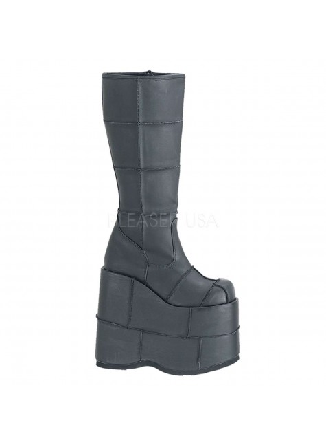 Mens Platform Patched Knee Boot at Gothic Plus, Gothic Clothing, Jewelry, Goth Shoes & Boots & Home Decor