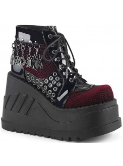 Stomp Burgundy and Black Charmed Wedge Bootie