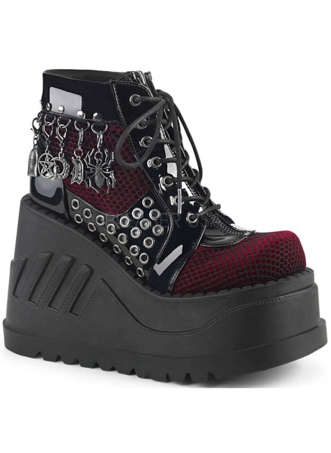 Stomp Burgundy and Black Charmed Wedge Bootie at Gothic Plus, Gothic Clothing, Jewelry, Goth Shoes & Boots & Home Decor
