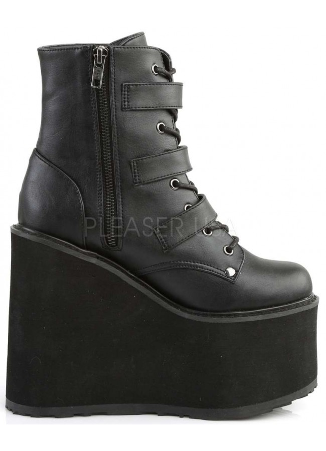 Bat Buckled Swing 103 Wedge Platform Ankle Boot Gothic